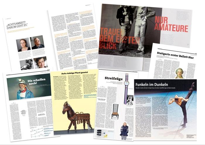 """Auftragsarbeiten: """"Der Taktgeber"""", """"Bruce B. - Das Magazin"""", """"Wochenende"""" der Stuttgarter Zeitung und Stuttgarter Nachrichten, """"Reihe 5"""" und """"Stuttgarter Nachrichten"""" Collage: Julia Lutzeyer"""